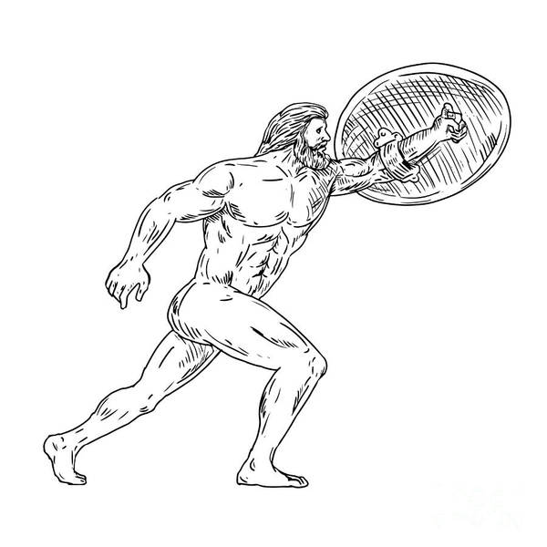 Wall Art - Digital Art - Heracles With Shield Urging Forward Drawing Black And White by Aloysius Patrimonio