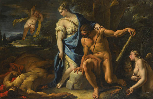 Wall Art - Painting - Hercules And Deianira, With The Dying Centar Nessus by Sebastiano Ricci