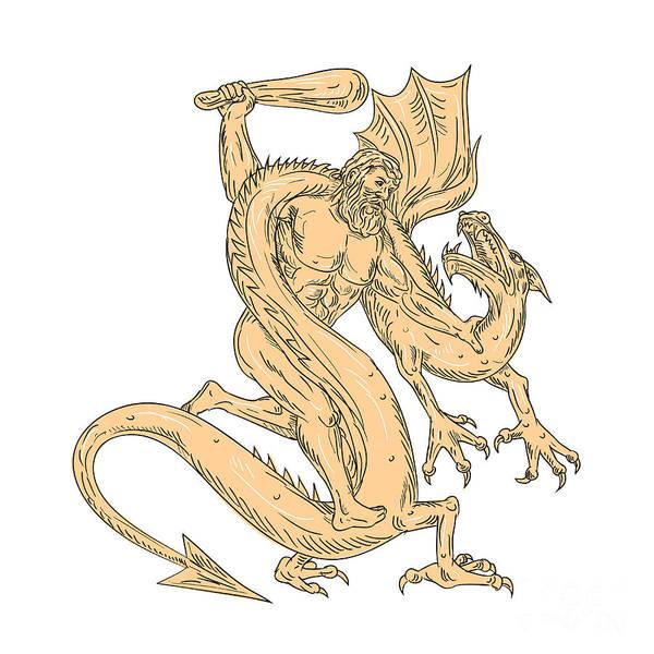 Wall Art - Digital Art - Hercules Fighting Dragon Drawing Color by Aloysius Patrimonio