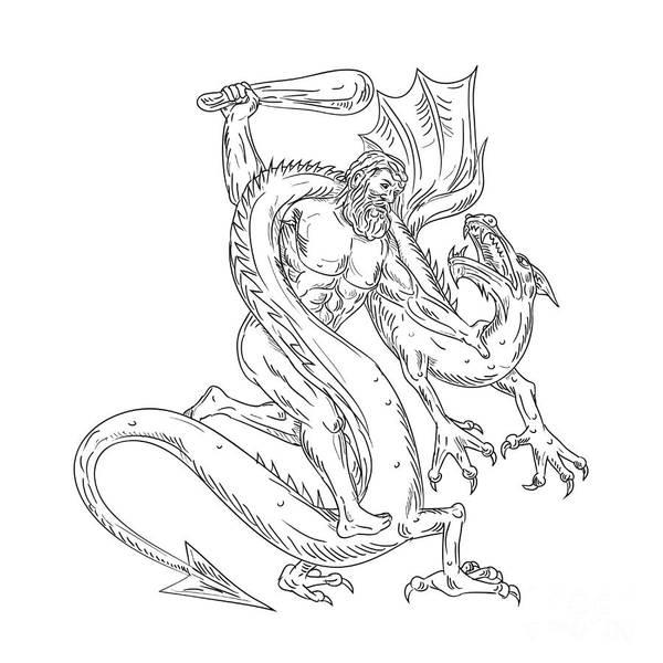 Wall Art - Digital Art - Hercules Grappling Dragon Drawing Black And White by Aloysius Patrimonio