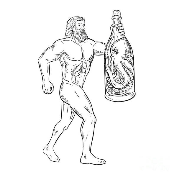 Wall Art - Digital Art - Hercules With Bottled Up Angry Octopus Drawing Black And White by Aloysius Patrimonio