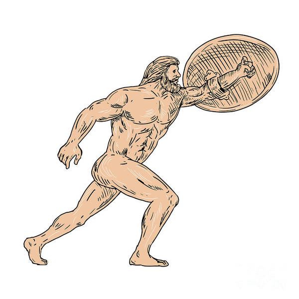 Wall Art - Digital Art - Hercules With Shield Going Forward Drawing by Aloysius Patrimonio