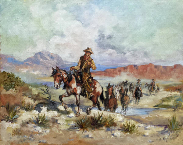 Wall Art - Painting - Herding Horses by Irek Szelag