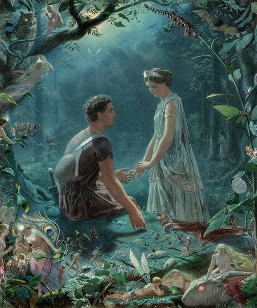 Wall Art - Painting - Hermia And Lysander,  A Midsummer Night's Dream, 19th Century by John Simmons