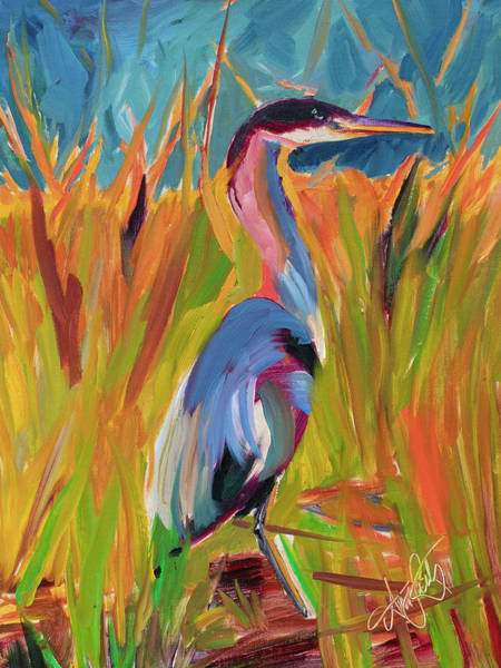 Wall Art - Painting - Heron In Hiding by Ann Lutz