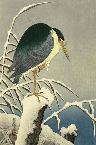 Wall Art - Painting - Heron In Snow by Ohara Koson