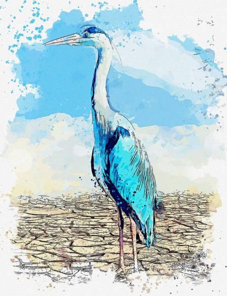 Wall Art - Painting - Heron  Landscape  Nature Watercolor By Ahmet Asar by Ahmet Asar