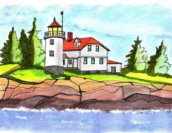 Wall Art - Drawing - Heron Neck Lighthouse- Maine by Paul Meinerth