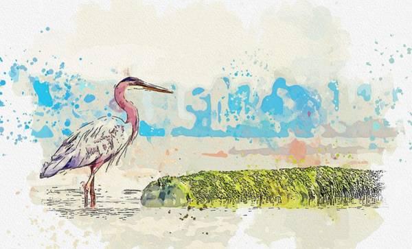 Wall Art - Painting - Heron -  Watercolor By Adam Asar by Adam Asar