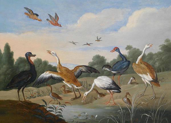 Painting - Herons And Ducks On A River by Jan van Kessel the Elder