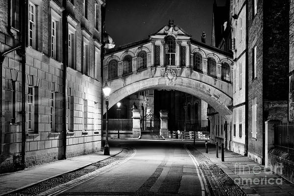 Photograph - Hertford Bridge At Night Monochrome by Tim Gainey