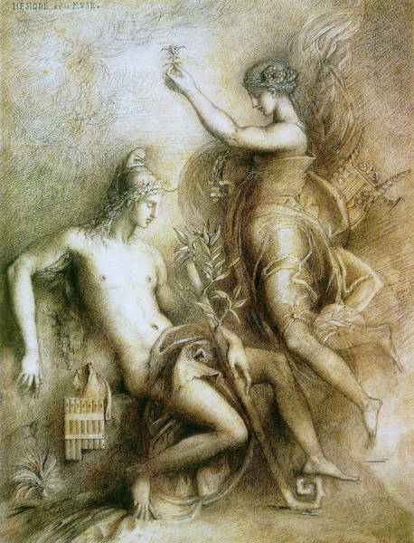 Wall Art - Painting - Hesiod And The Muse - Digital Remastered Edition by Gustave Moreau