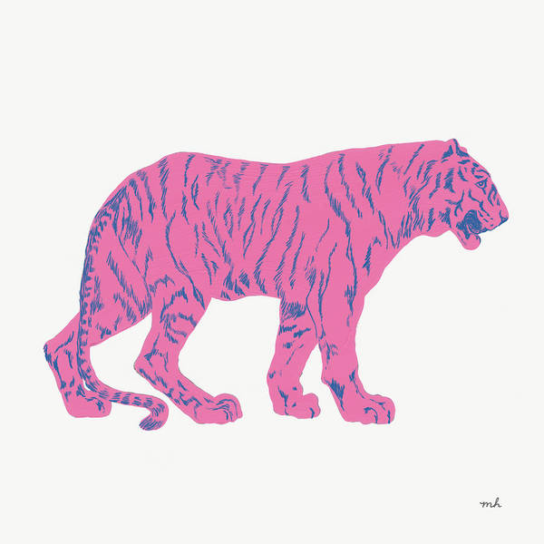 Neon Pink Painting - Hey Tiger I by Moira Hershey