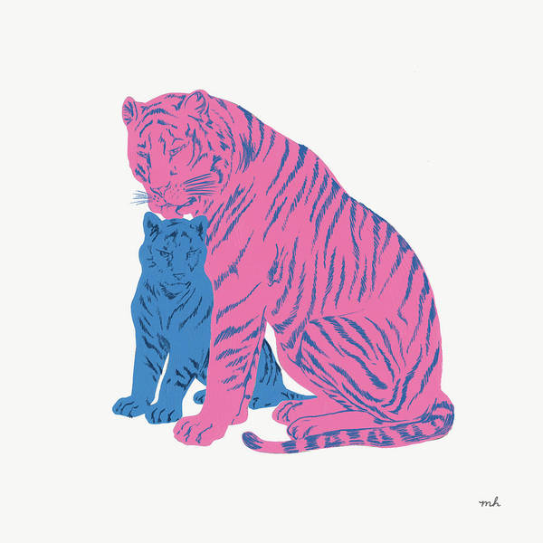 Neon Pink Painting - Hey Tiger II by Moira Hershey