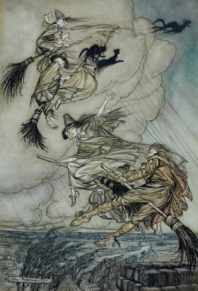 Wall Art - Painting - Hey, Up The Chimney, Lass, Hey After You by Arthur Rackham
