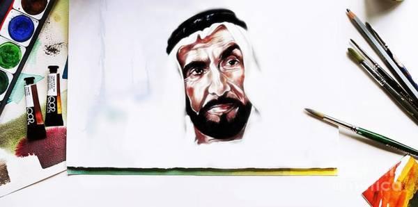 Painting - Hh Sheikh Zayed Bin Sultan Al Nahyan by Qasir Z Khan