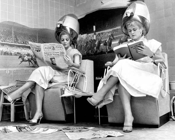 Woman Reading Wall Art - Photograph - Hialeah Beauty Parlor Customers Scorn by New York Daily News Archive