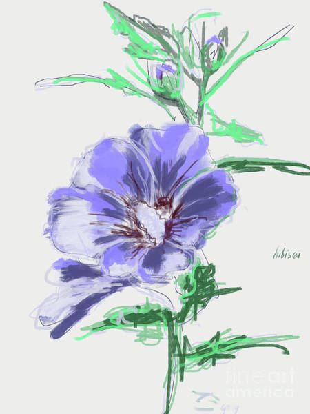 Painting - Hibiscus Lilac Grey by Go Van Kampen