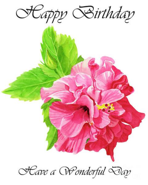 Wall Art - Painting - Hibiscus Rosa Sinenis Birday Card 1 by Sharon Freeman