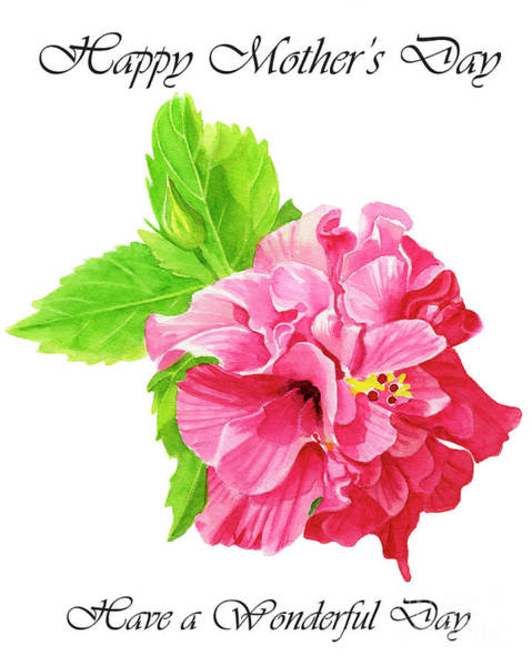 Wall Art - Painting - Hibiscus Rosa Sinensis Mothers Day Greeting Card 1 by Sharon Freeman