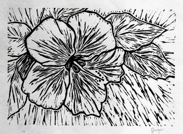 Linoleum Mixed Media - Hibiscus by Tamara Jaeger