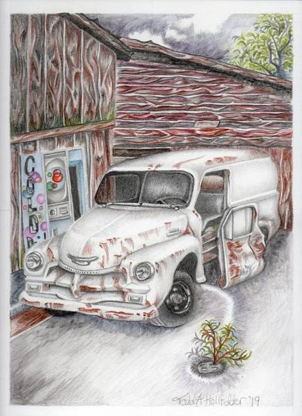 Old Chevy Truck Drawing - Hidden By The Barn by Todd Hollfelder