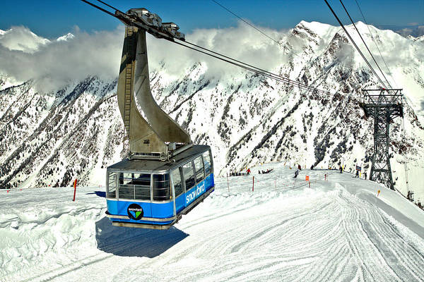 Photograph - Hidden Peak Blue Snowbird Tram by Adam Jewell