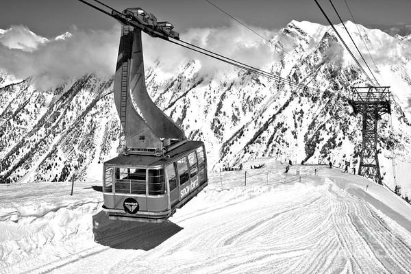 Photograph - Hidden Peak Blue Snowbird Tram Black And White by Adam Jewell
