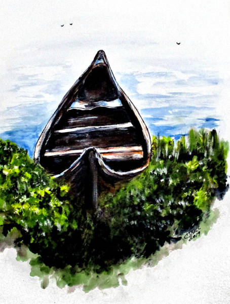 Painting - Hidden River Boat by Clyde J Kell