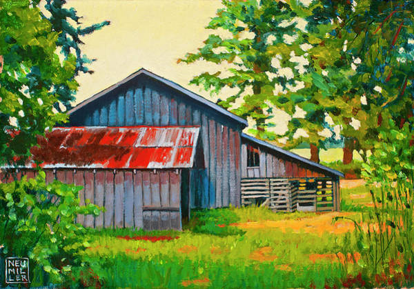 Wall Art - Painting - Hidden Sheep Barn by Stacey Neumiller