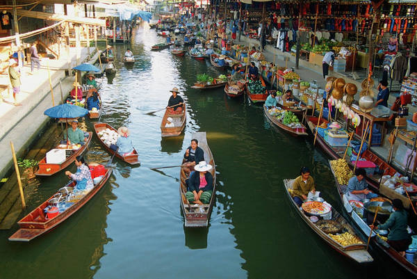 Real People Photograph - High Angle View Of Boats, Damnoen by Medioimages/photodisc