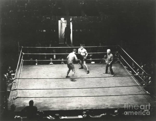 Caucasian Wall Art - Photograph - High Angle View Of Boxing Match by Everett Collection