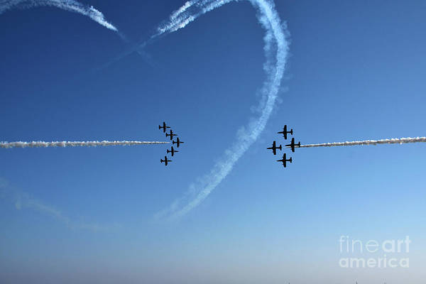 Wall Art - Photograph - High Angle View Of Planes On Clear Blue by Massimo Gaudio