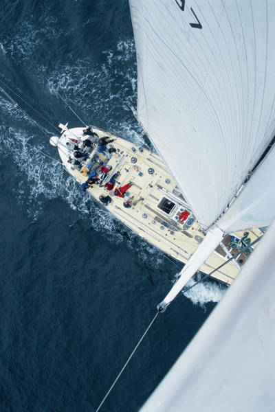 Yacht Photograph - High Angle View Of Yacht At Sea by Anna Henly