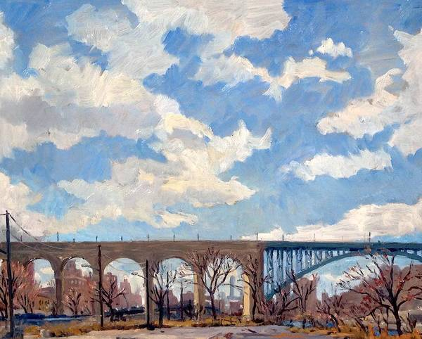 Painting - High Bridge Bright Sky Nyc by Thor Wickstrom