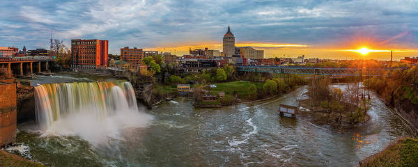 Photograph - High Falls Rochester Ny At Sunset by Mark Papke