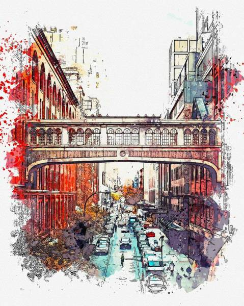 Wall Art - Painting - High Line, New York, Etats-unis -  Watercolor By Adam Asar by Celestial Images