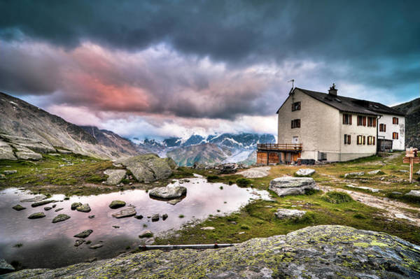 Climbing Photograph - High Mountain Shelter At Sunset by Scacciamosche