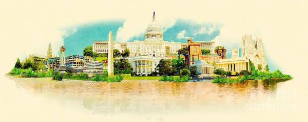 Panoramic Digital Art - High Resolution Panoramic Watercolor by Trentemoller