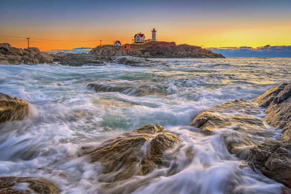 Photograph - High Tide At Cape Neddick Lighthouse by Kristen Wilkinson