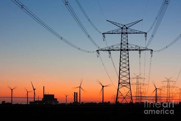 Power Station Wall Art - Photograph - High Voltage Power Lines With by Thorsten Schier