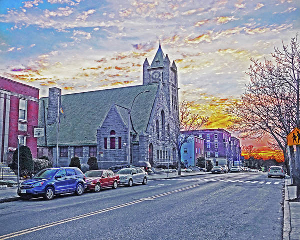 Photograph - Highland Ave Somerville Ma Mission Church Sunset by Toby McGuire