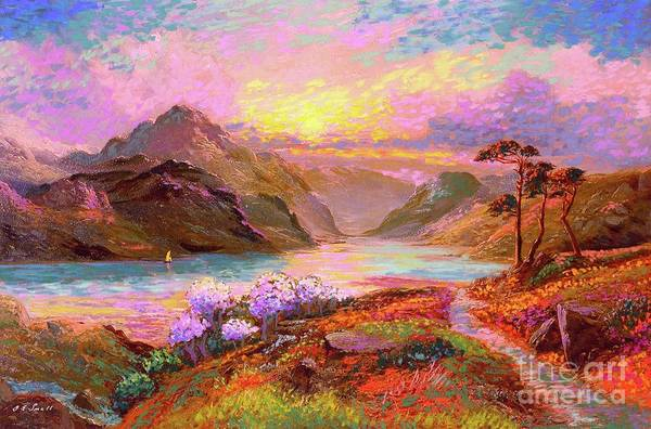 Cherry Tree Painting - Highland Lake by Jane Small