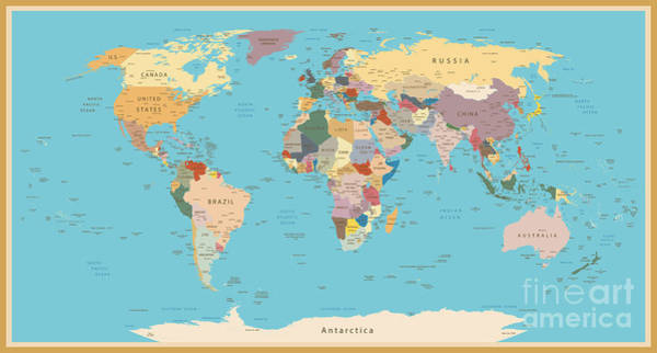 East Asia Wall Art - Digital Art - Highly Detailed World Map With Vintage by Frees