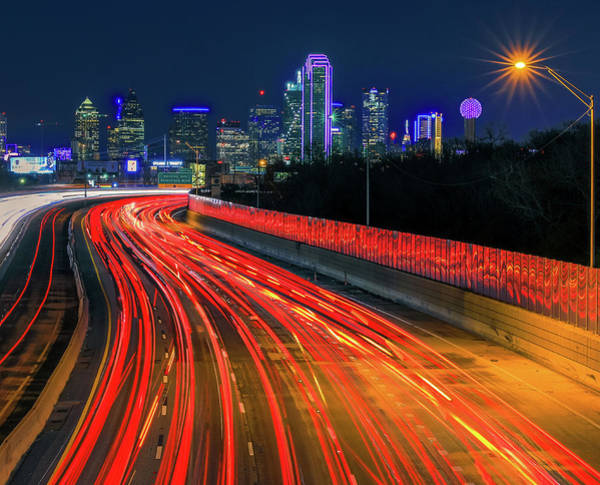 Photograph - Highway Lights Into Dallas Texas by Dan Sproul