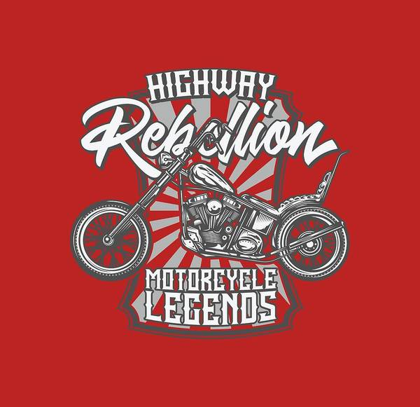 Wall Art - Digital Art - Highway Rebellion Motorcycle Legends by Johanna Hurmerinta