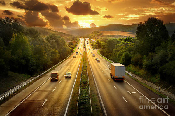 Route Photograph - Highway Traffic In Sunset by Llaszlo