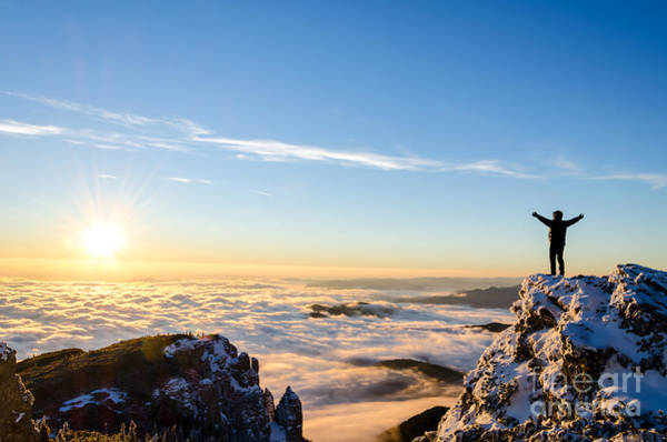 Remote Photograph - Hiker Celebrating Success On Top Of A by Catalin Grigoriu