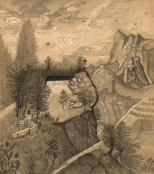 Wall Art - Drawing - Hikers Climbing Up To A Mountain Chalet by Henri Rousseau
