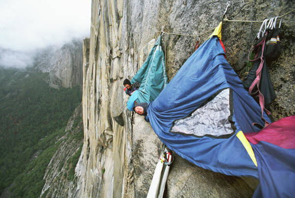 Hanging Rock Photograph - Hikers Sleeping In Bivouac On Mountain by Greg Epperson